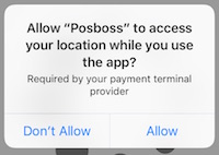 Allow posBoss to access Location Services