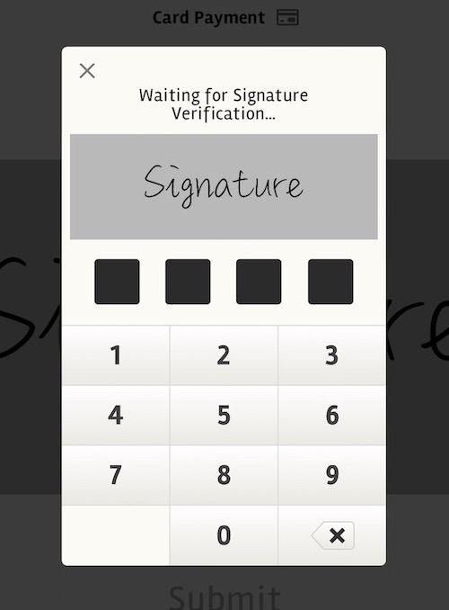posBoss Manager PIN for Signature verification